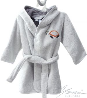 Kids' bathrobe Iva Microcotton gray and embroidery