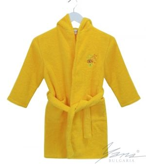 Kids' bathrobe Microcotton with embroidery yellow