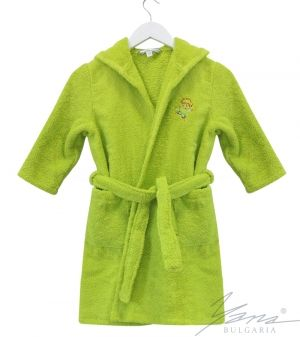 Kids' bathrobe Microcotton with embroidery green