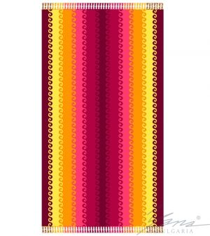 Beach towel velour B037 with fringe
